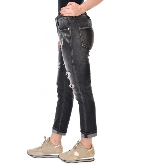 DONDUP JEANS DONNA NERO SKINNY FIT CON ROTTURE 2