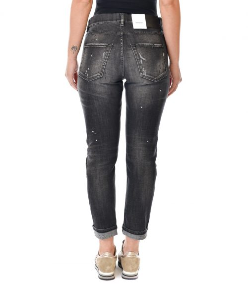DONDUP JEANS DONNA NERO SKINNY FIT CON ROTTURE 3