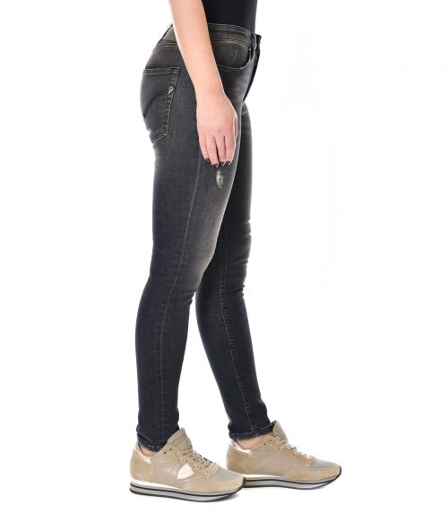 DONDUP JEANS DONNA NERO SKINNY FIT CON ROTTURE IRIS 1