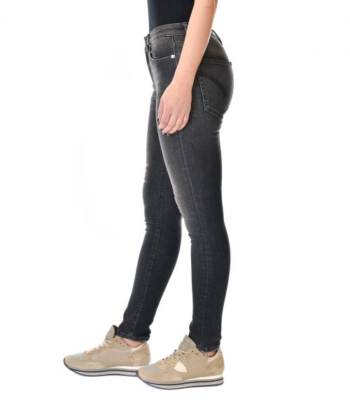 DONDUP JEANS DONNA NERO SKINNY FIT CON ROTTURE IRIS 2