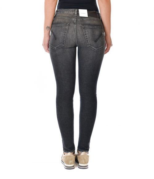 DONDUP JEANS DONNA NERO SKINNY FIT CON ROTTURE IRIS 3