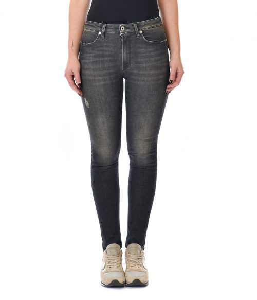 DONDUP JEANS DONNA NERO SKINNY FIT CON ROTTURE IRIS