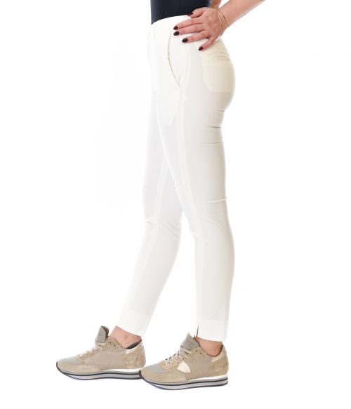 (+) PEOPLE PANTALONE DONNA BIANCO SKINNY FIT IN COTONE 1