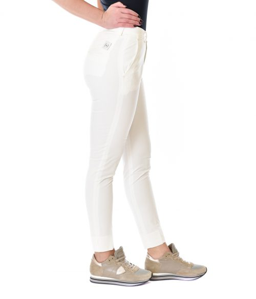 (+) PEOPLE PANTALONE DONNA BIANCO SKINNY FIT IN COTONE 2