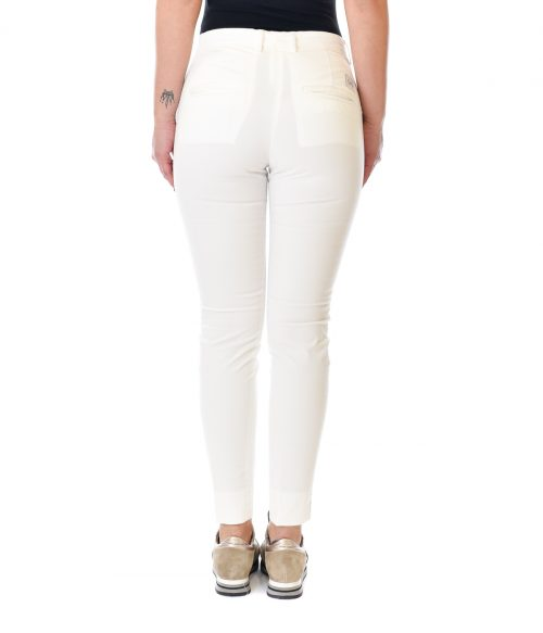 (+) PEOPLE PANTALONE DONNA BIANCO SKINNY FIT IN COTONE 3