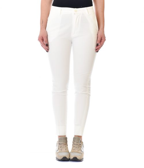 (+) PEOPLE PANTALONE DONNA BIANCO SKINNY FIT IN COTONE