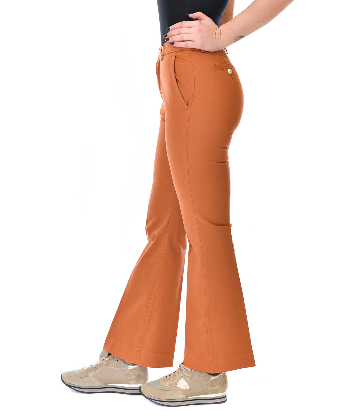 (+) PEOPLE PANTALONE DONNA MATTONE SKINNY FIT A ZAMPA