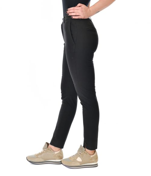 (+) PEOPLE PANTALONE DONNA NERO SKINNY FIT IN COTONE 1