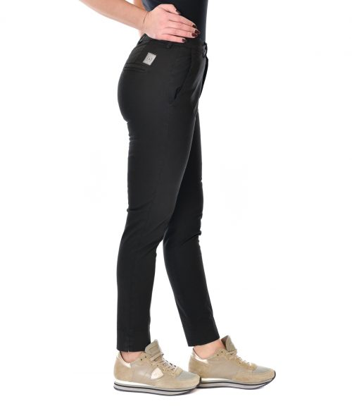 (+) PEOPLE PANTALONE DONNA NERO SKINNY FIT IN COTONE 2