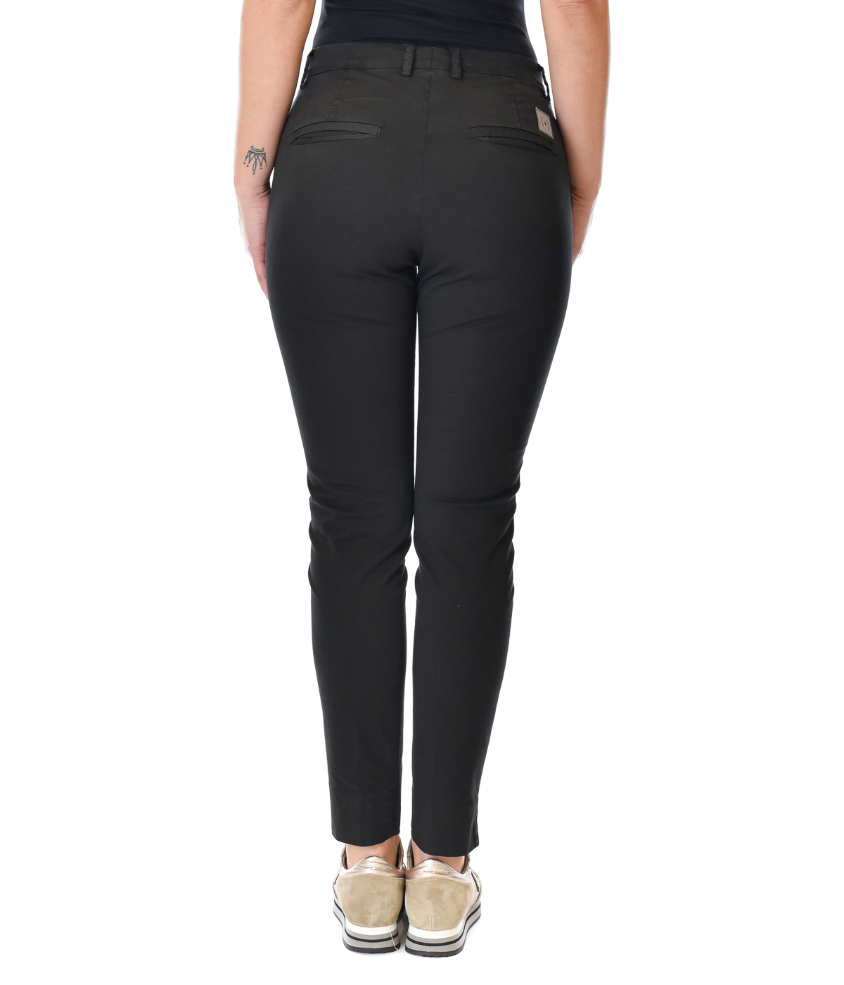 (+) PEOPLE PANTALONE DONNA NERO SKINNY FIT IN COTONE