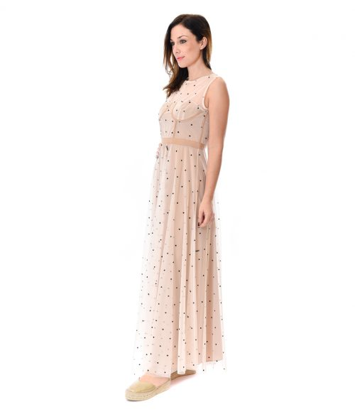 MERCÌ ABITO DONNA BEIGE IN TULLE A POIS 1
