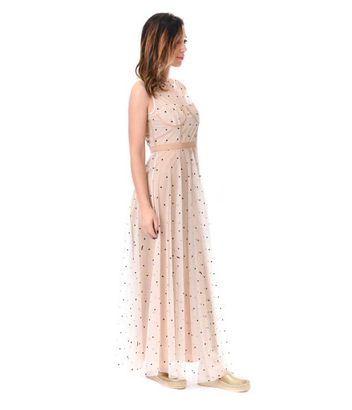 MERCÌ ABITO DONNA BEIGE IN TULLE A POIS 2