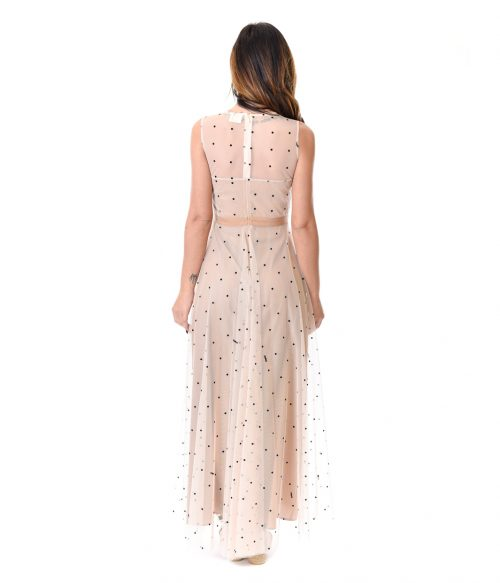 MERCÌ ABITO DONNA BEIGE IN TULLE A POIS 3