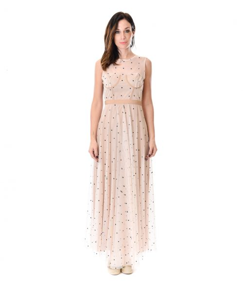MERCÌ ABITO DONNA BEIGE IN TULLE A POIS