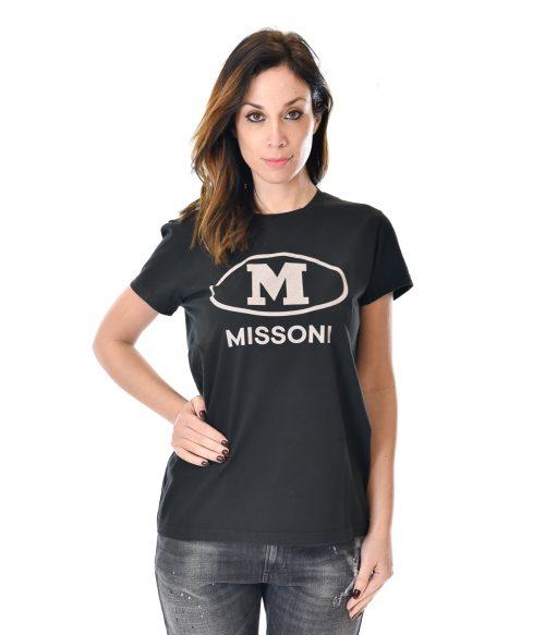 MISSONI T-SHIRT DONNA NERA STAMPA LOGO 1
