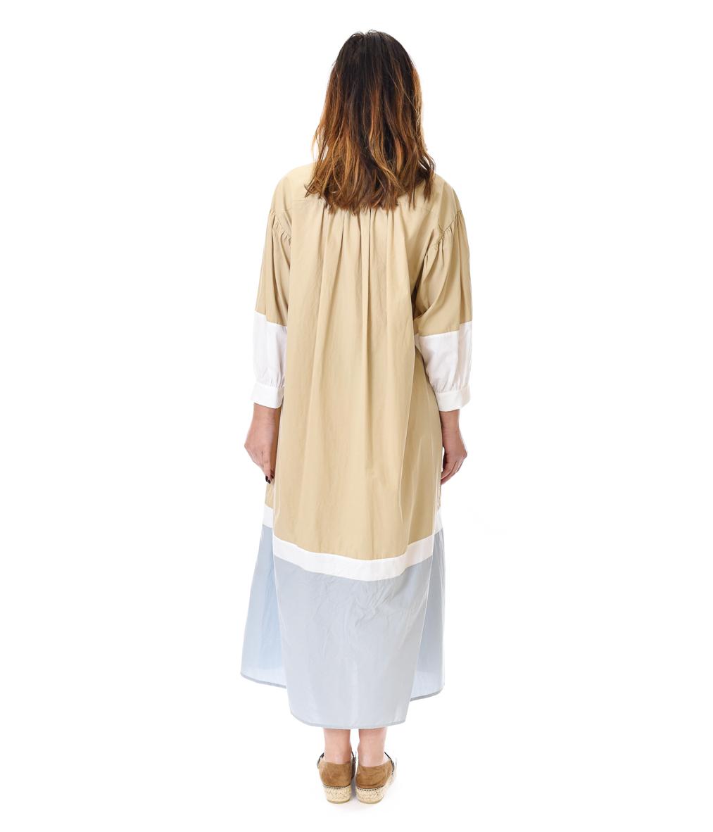 OTTOD'AME ABITO DONNA BEIGE E CELESTE COTTON DRESS