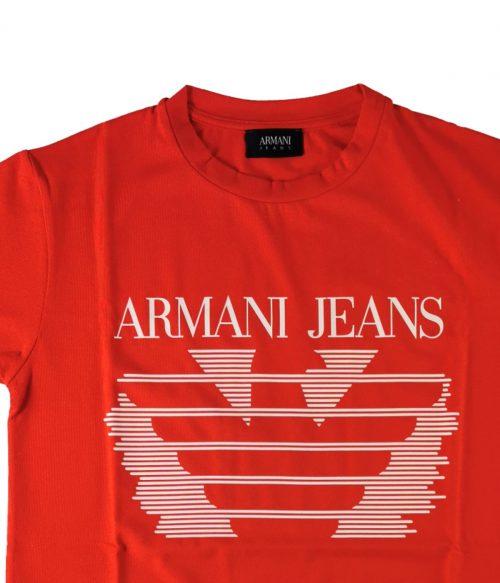 ARMANI JEANS T-SHIRT UOMO ROSSA LOGO STAMPATO 1