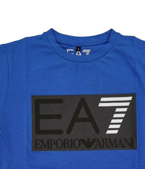 EMPORIO ARMANI T-SHIRT UOMO BLU ROYAL LOGO STAMPATO 1