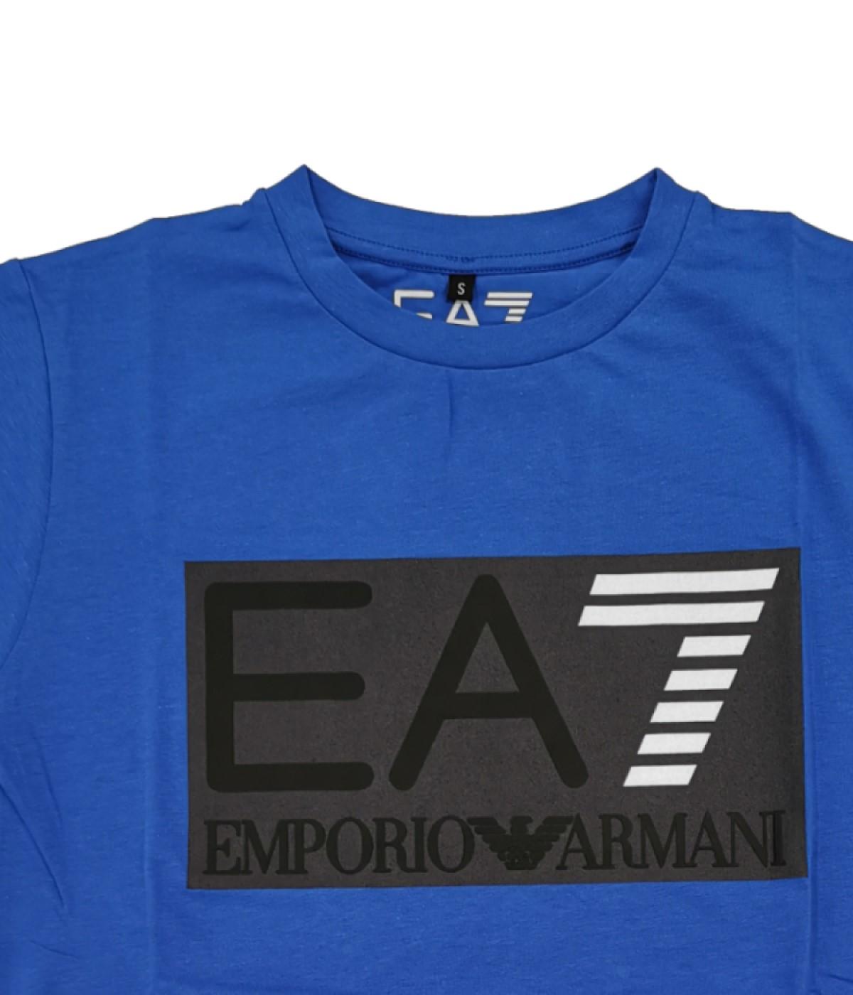 EMPORIO ARMANI T-SHIRT UOMO BLU ROYAL LOGO STAMPATO