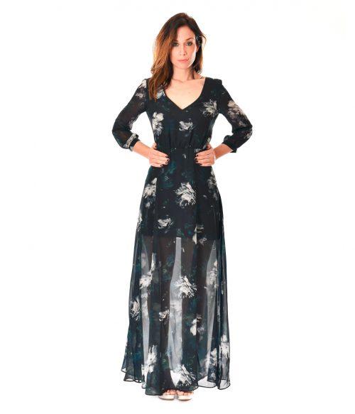 PATRIZIA PEPE ABITO DONNA BLUE FLOWERS LONG DRESS