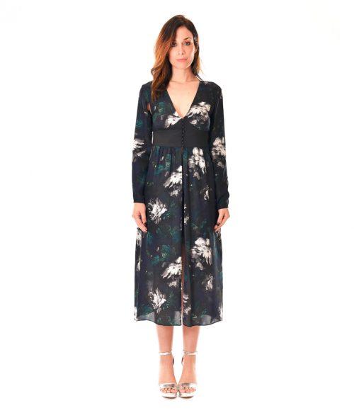 PATRIZIA PEPE ABITO DONNA BLUE FLOWERS LONG DRESS SETA 1