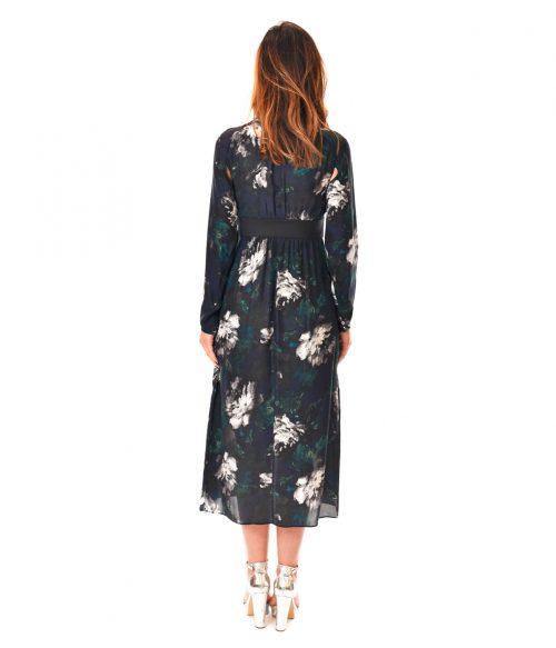 PATRIZIA PEPE ABITO DONNA BLUE FLOWERS LONG DRESS SETA 3