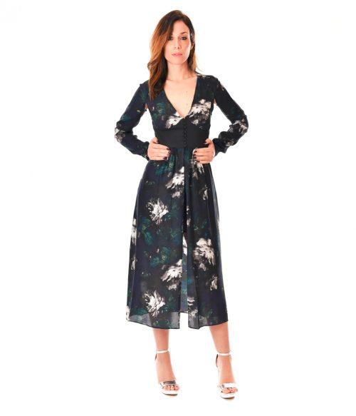 PATRIZIA PEPE ABITO DONNA BLUE FLOWERS LONG DRESS SETA