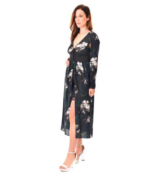 PATRIZIA PEPE ABITO DONNA BLUE FLOWERS LONG DRESS SETA2