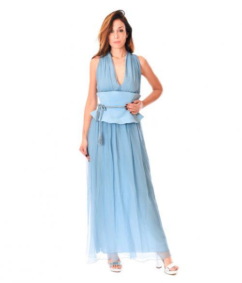 PATRIZIA PEPE ABITO DONNA COSMIC BLUE LONG DRESS SETA 1