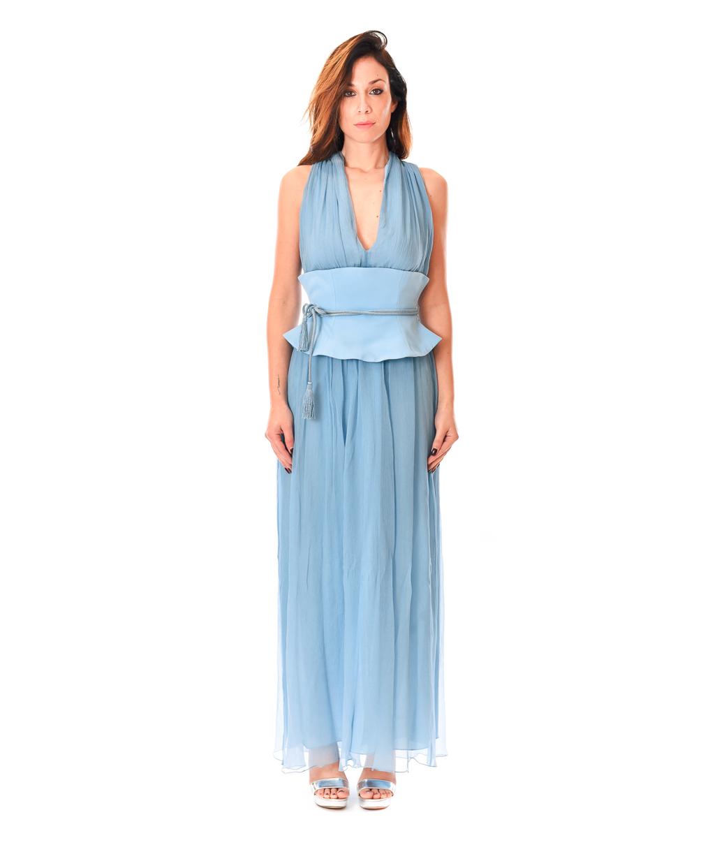 PATRIZIA PEPE ABITO DONNA COSMIC BLUE LONG DRESS SETA