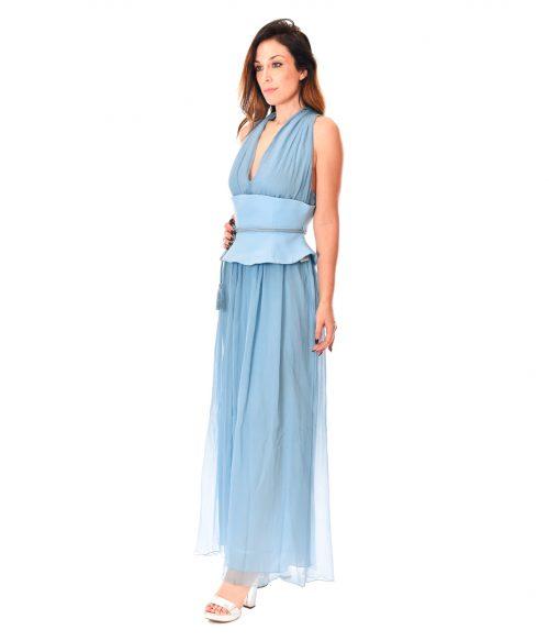 PATRIZIA PEPE ABITO DONNA COSMIC BLUE LONG DRESS SETA1