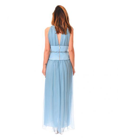 PATRIZIA PEPE ABITO DONNA COSMIC BLUE LONG DRESS SETA2