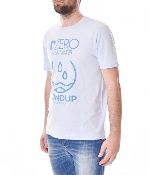 DONDUP T-SHIRT UOMO CELESTE WASHED LESS WATER 1