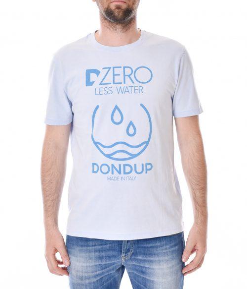 DONDUP T-SHIRT UOMO CELESTE WASHED LESS WATER