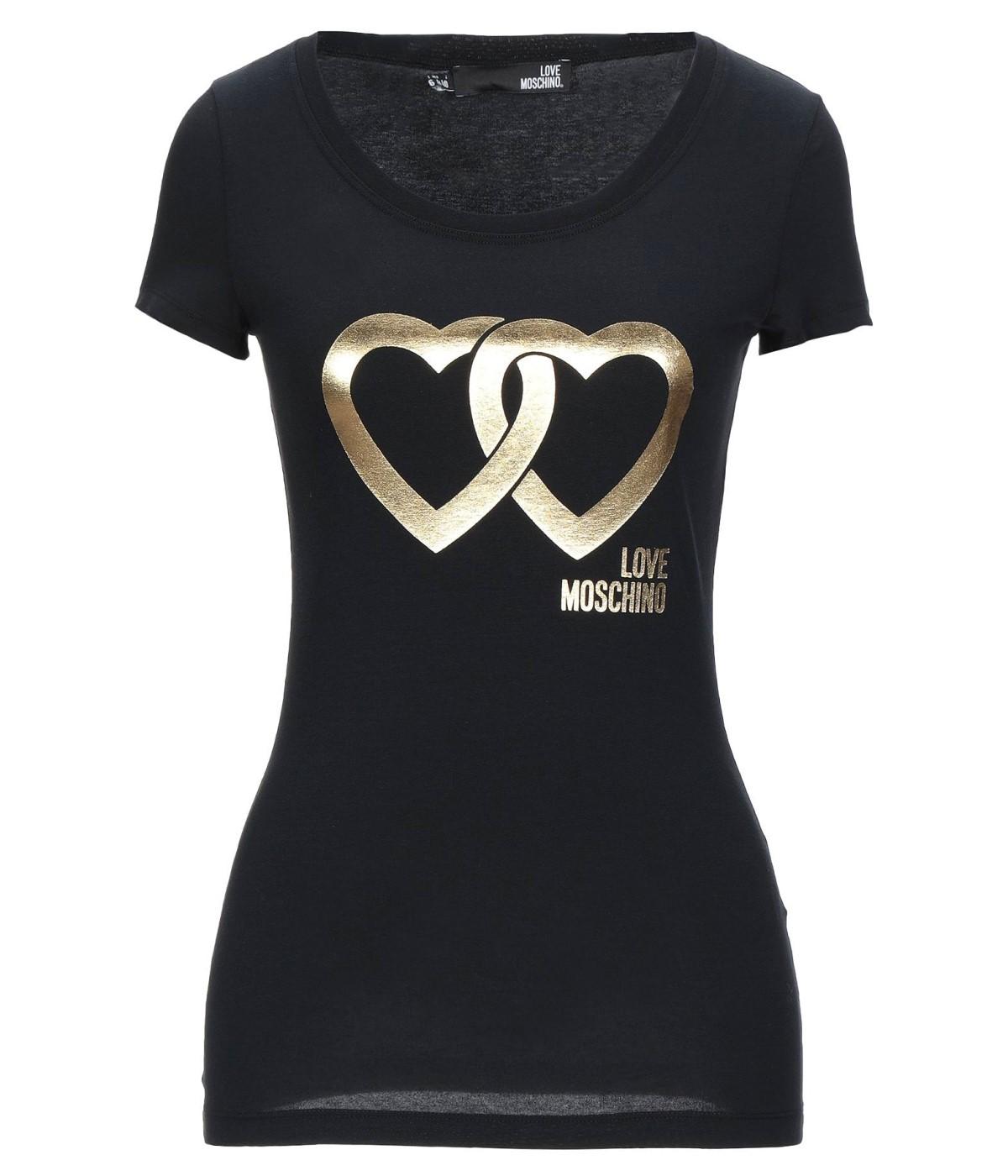 LOVE MOSCHINO T-SHIRT DONNA NERA CUORI GOLD